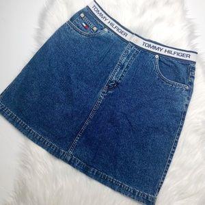 Vintage Tommy Hilfiger Spell Out Denim Mini Skirt